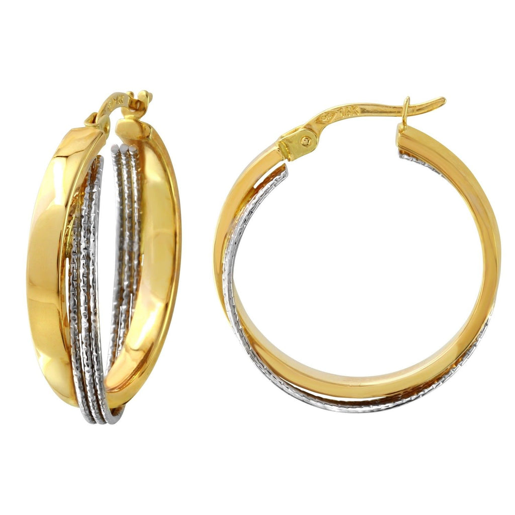 14k Two-Tone Gold Double Triple Hoop Earrings