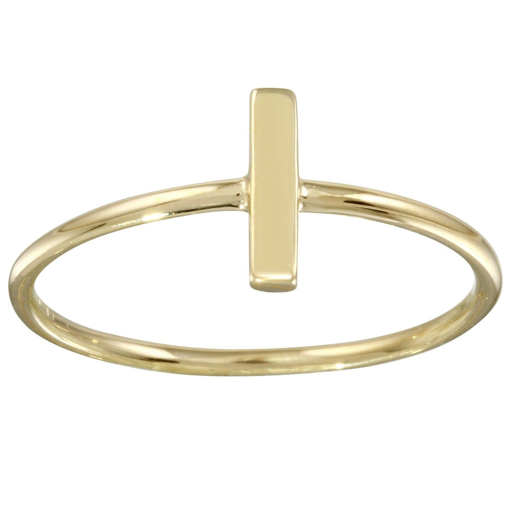 14k Yellow Gold Italian Bar Detail Ring, Size 7