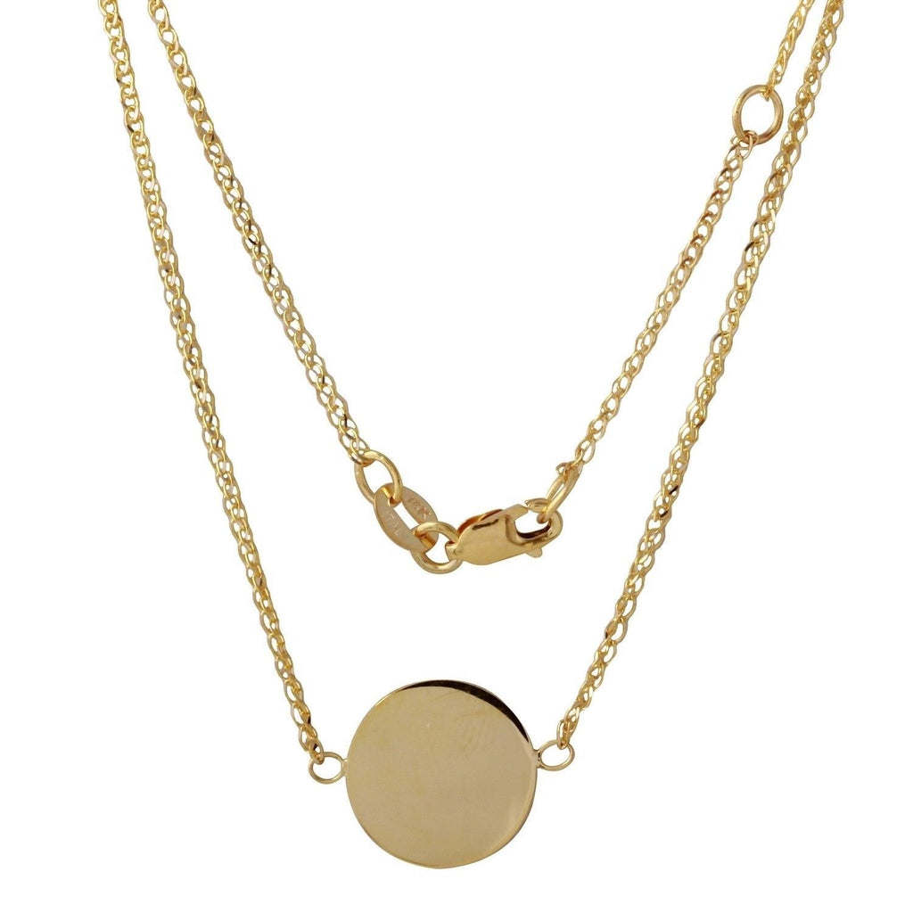 "14k Yellow Gold Italian Round Disc Engraveable Pendant Necklace, 16+1"" Extender"