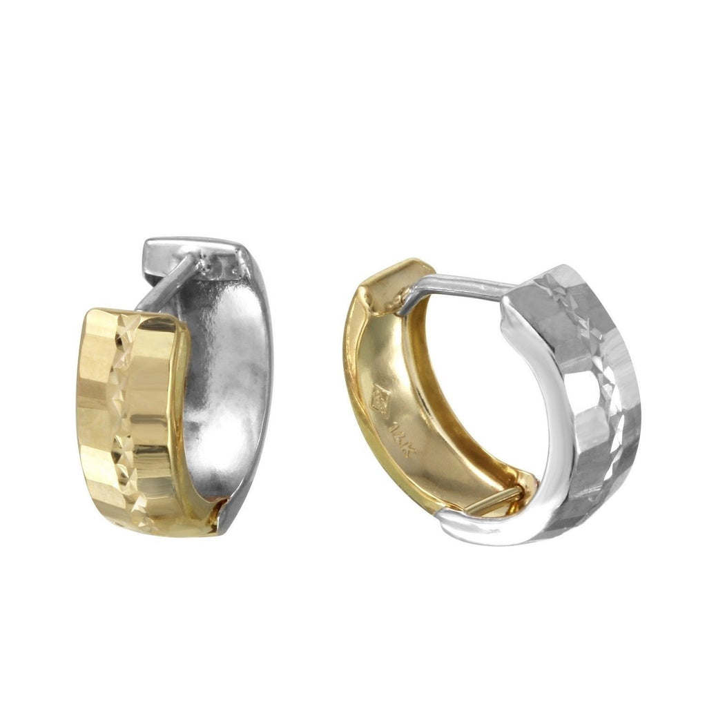 "14k Two-Tone Gold Huggies Earrings (.5"" Diameter)"