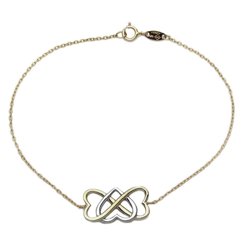 14K Two-Tone Gold Infinity Hearts Bracelet, 7.25""