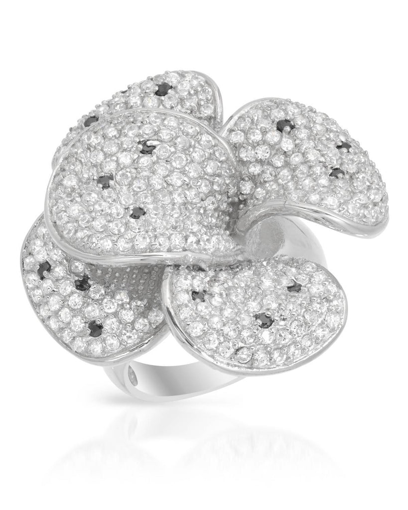 Sterling Silver Cubic Zirconia 3D Dynamic Pedal Flower Ring
