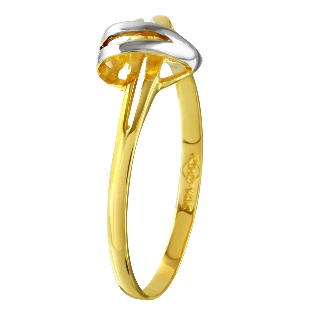 14k Two-Tone Gold Heart Ring, Size 7