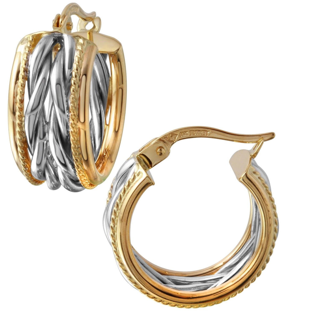 14k Two-Tone Gold Huggie Hoop Earrings