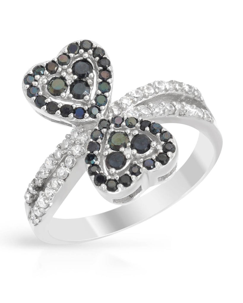 Double Heart Infinity Ring Black CZ Sterling Silver