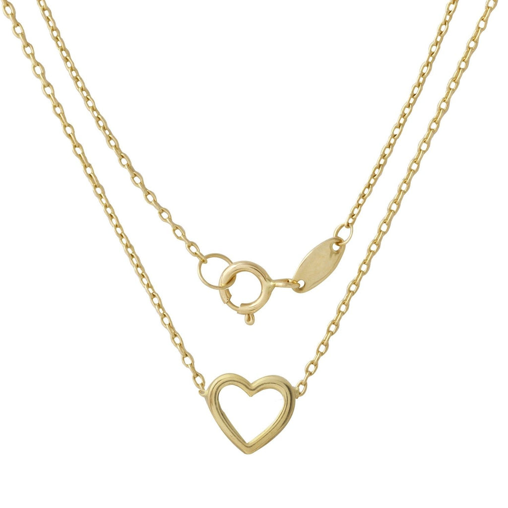 "14k Yellow Gold Italian Diamond-Cut Heart Rolo Chain Necklace, 16+.5"" Extender"