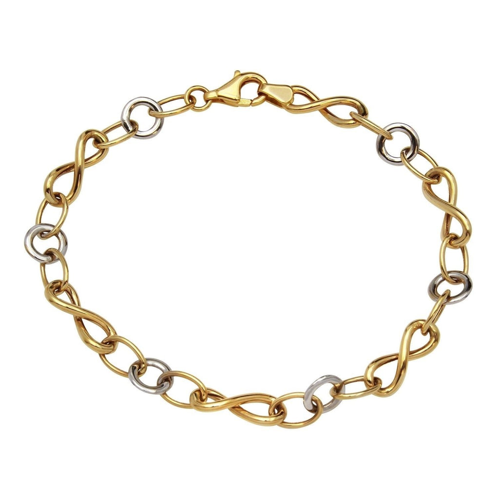 14k Two-Tone Gold Circle Infinity Link Bracelet, 7.5""