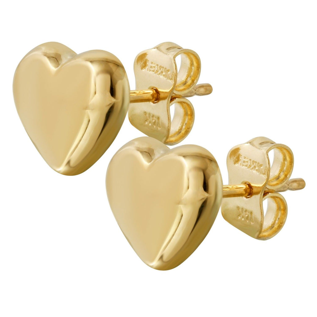 14k Yellow Gold Puffy Heart Stud Earrings