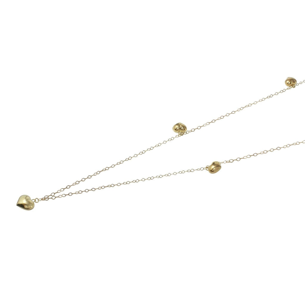 14k Yellow Gold Italian Rolo Chain Puffy Heart Necklace, 30""