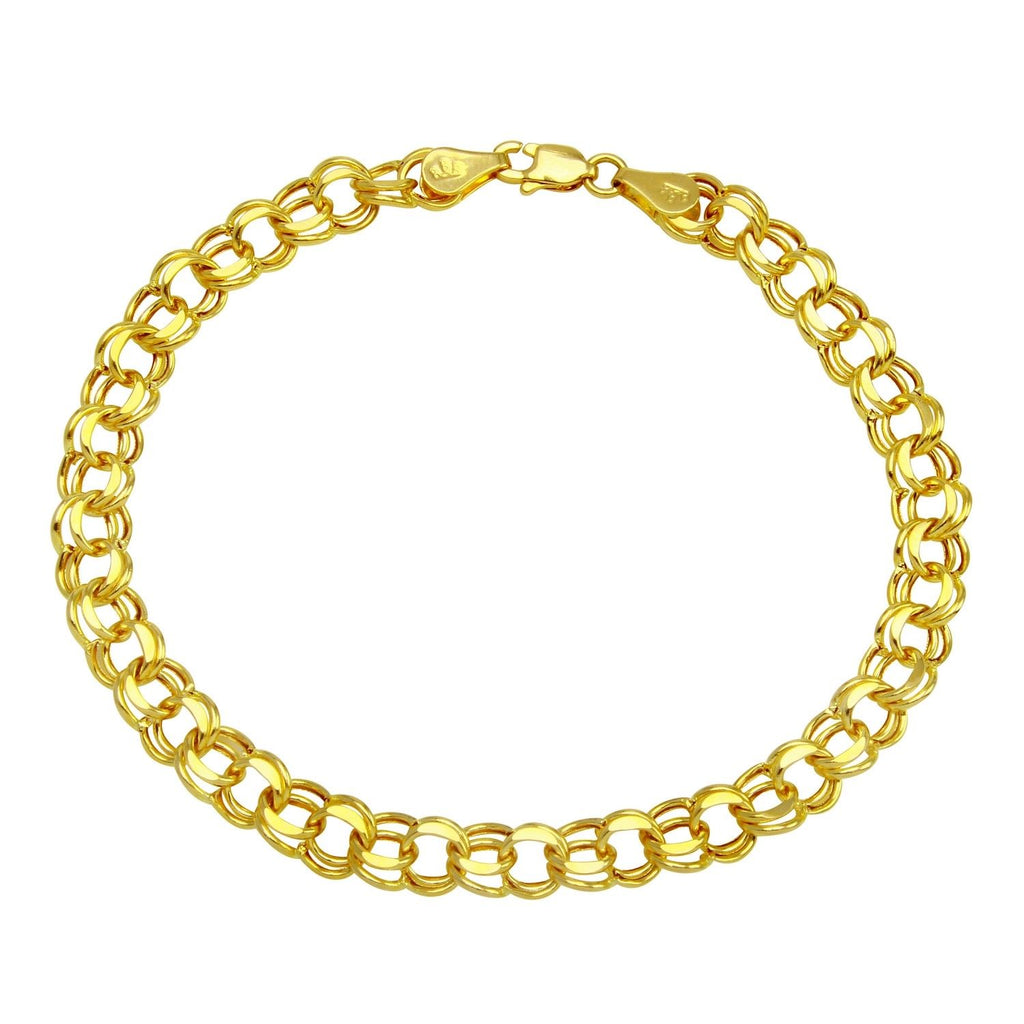 "14K Gold 5.9mm Charm Bracelet for Charms, 7.25"" - Bee Jewels"