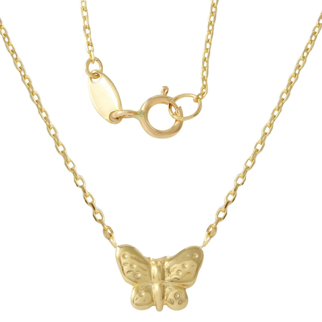 14K Yellow Gold Butterfly Necklace, 17 - Bee Jewels