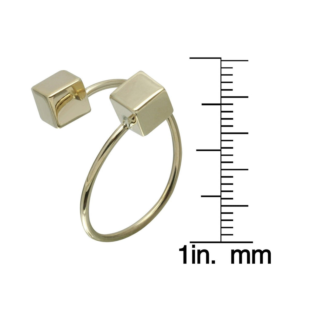 14k Yellow Gold Dice Bypass Ring, Size 7 - Bee Jewels