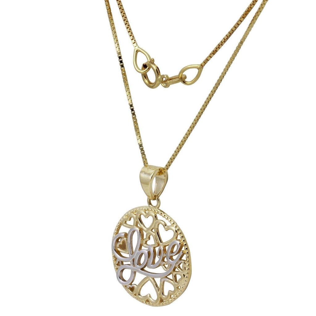 14k Two-Tone Gold Love Hearts Pendant Necklace, 18""