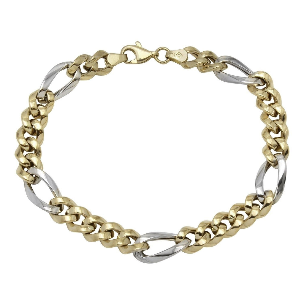 14k Two-Tone Gold Fancy Link Men's Bracelet, 8.25""