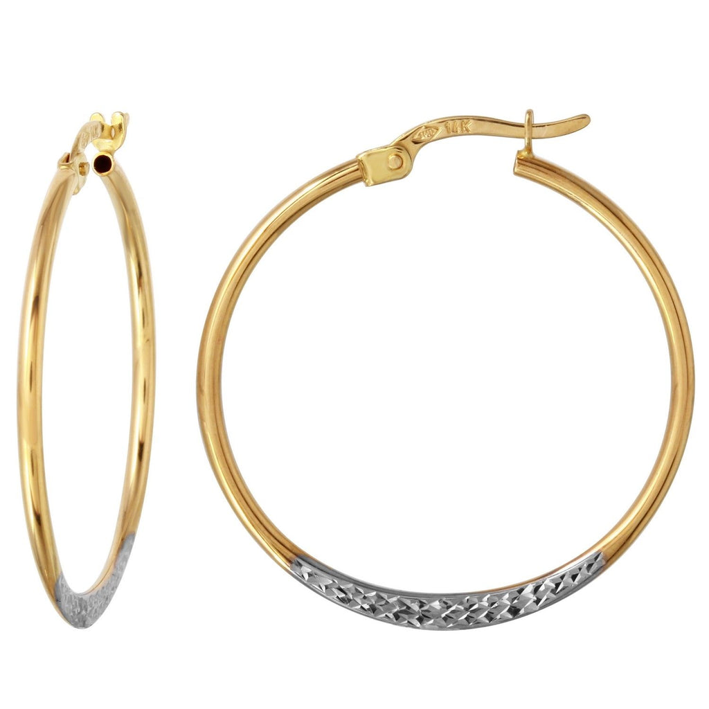 14k Two-Tone Gold D-Cut Hoop Earrings