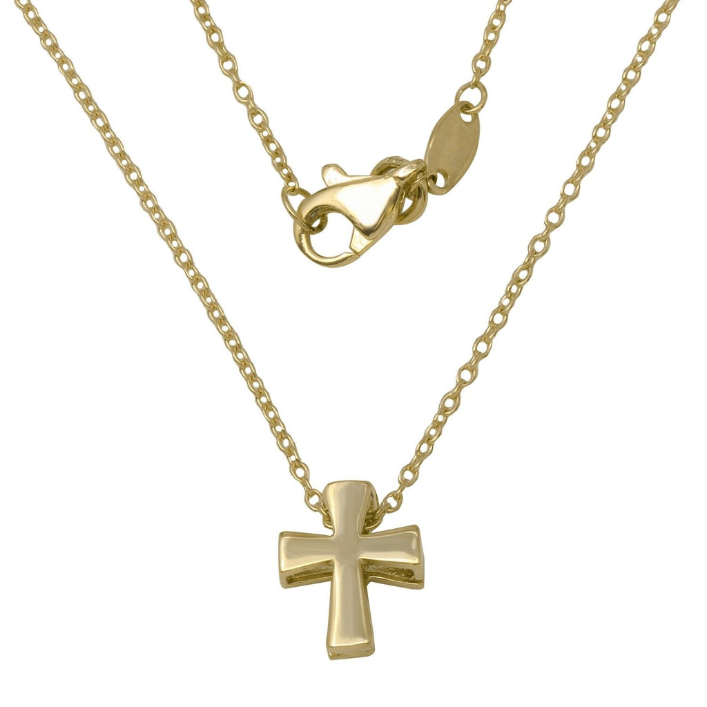 "14k Yellow Gold Cross Adjustable Necklace, 16+2"" Extender - Bee Jewels"