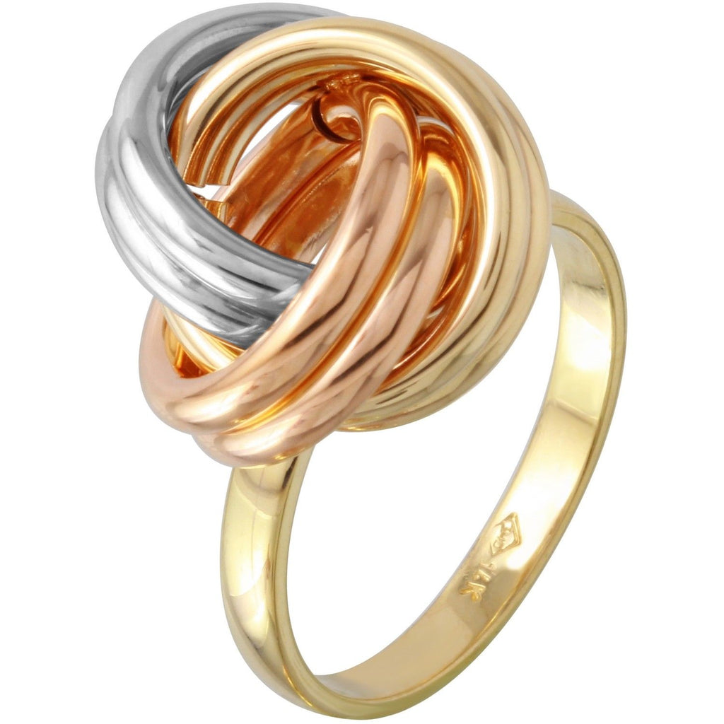 14k Tri-Color Gold Knot Ring, Size 7