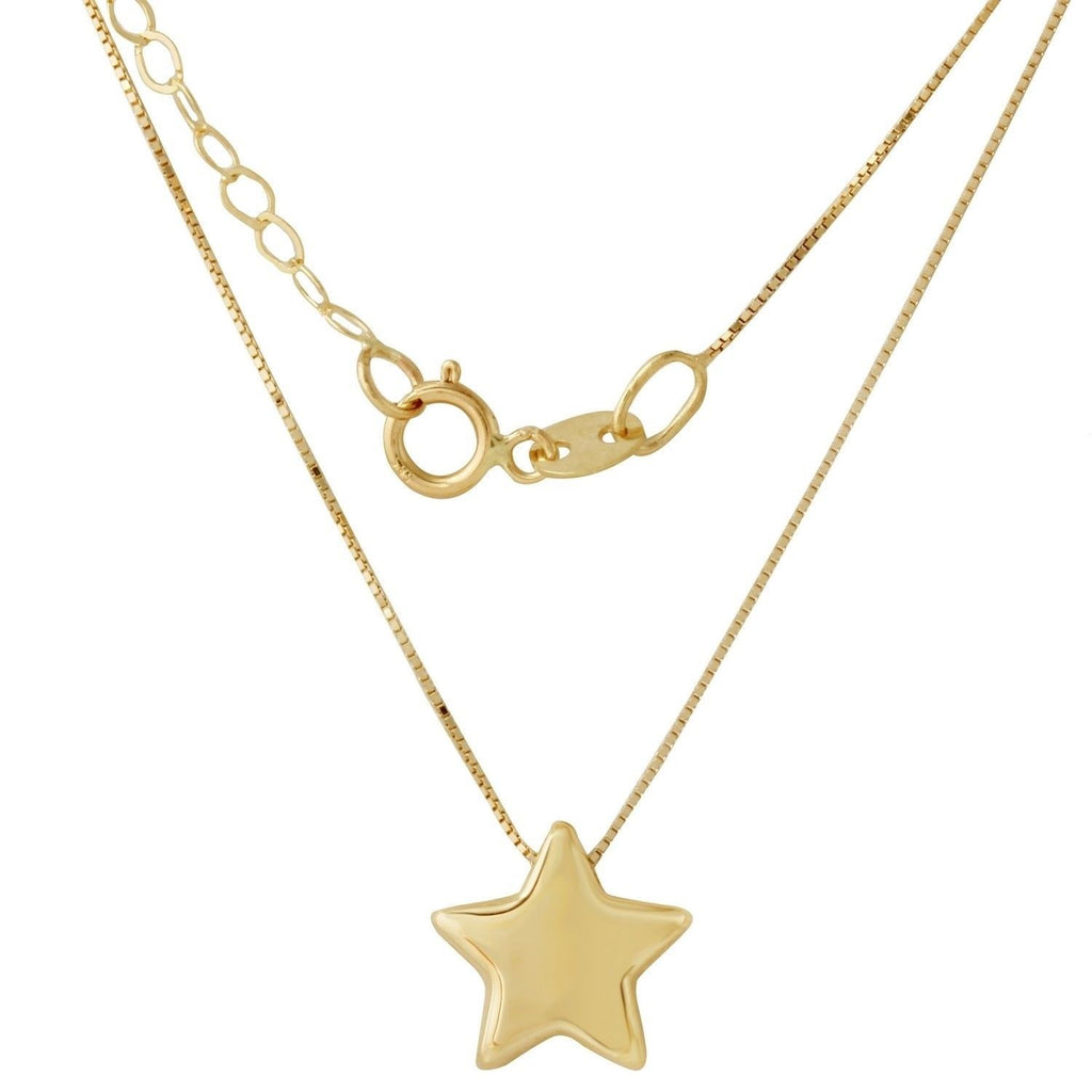 "14k Yellow Gold Italian Star Pendant Necklace, 16+2"" Extender"