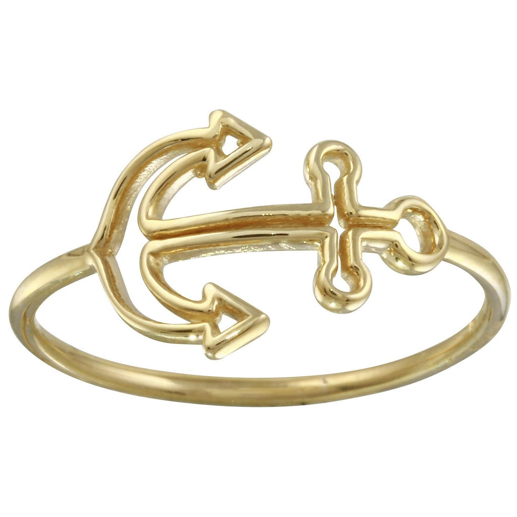 14k Yellow Gold Italian Nautical Anchor Ring, Size 7