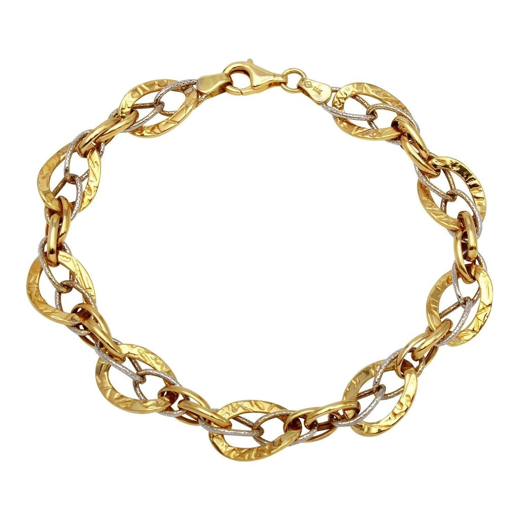 14k Two-Tone Gold Mixed Link Bracelet, 7.75""