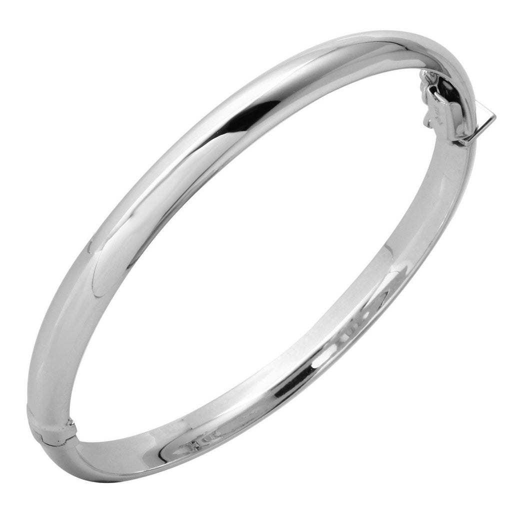 14k White Gold 6.1mm Polished Dome Bangle Bracelet, 2 1/2""