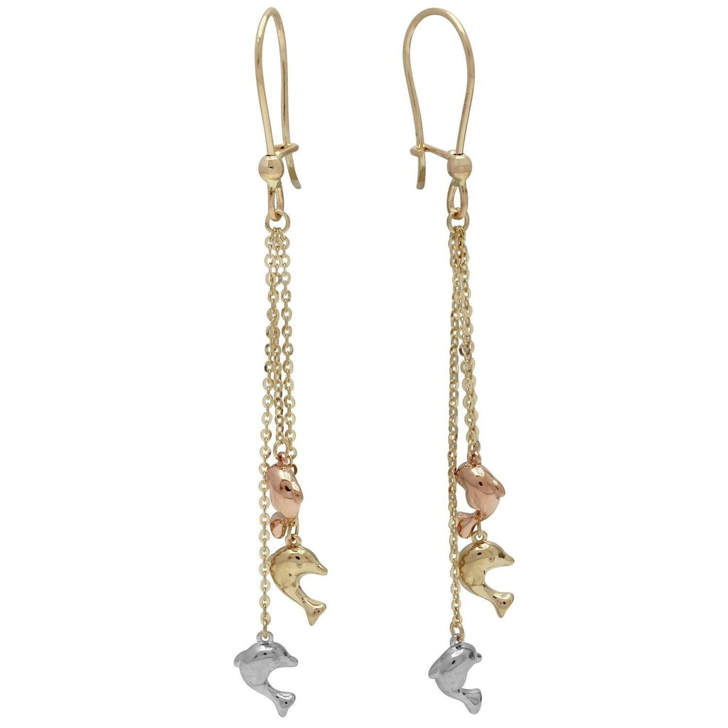 14k Tri-Color Gold Dangling Dolphins Drop Earrings