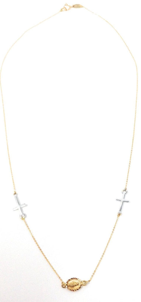 14K Two-Tone Gold Miraculous Medal and Cross Necklace, 16""