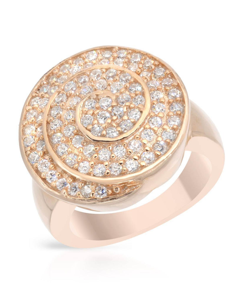 Sparkling Spiral Ring rose gold CZ Sterling Silver