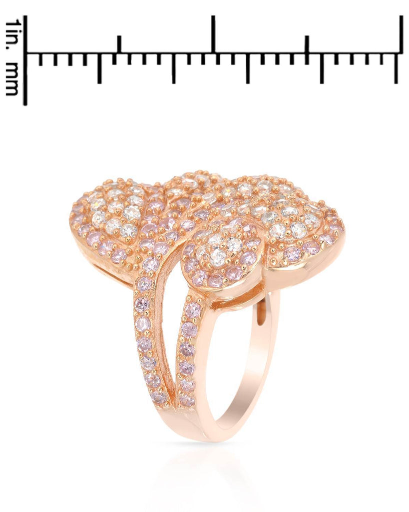 Puffy Swirling Pedals Ring CZ Sterling Silver