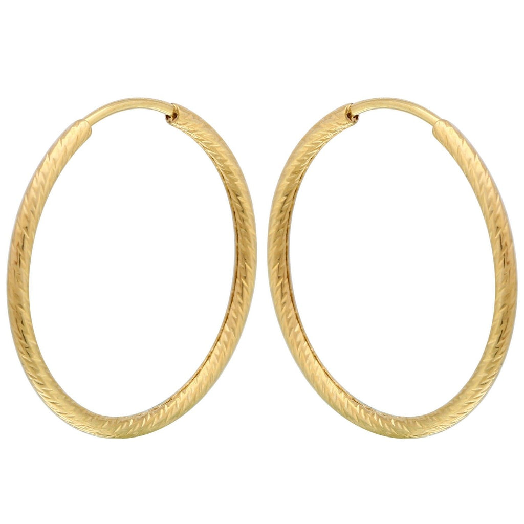 14k Yellow Gold Diamond-Cut Medium Hoop Earrings