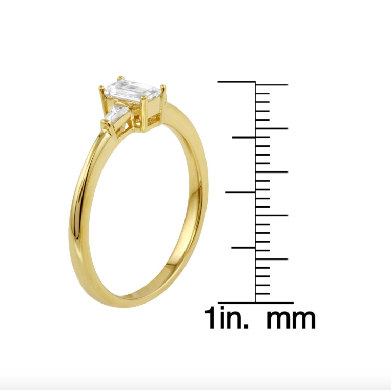 Womens 14k Yellow Gold CZ Baguette Three-Stone Wedding Engagement SIZE 6.5