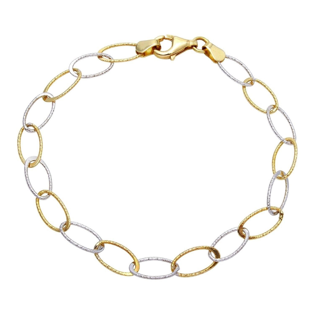14k Two-Tone Gold Thin Oval Link Bracelet, 7.25""