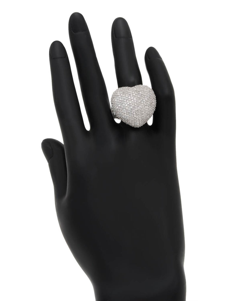 Big Puffy Heart Ring CZ Sterling Silver