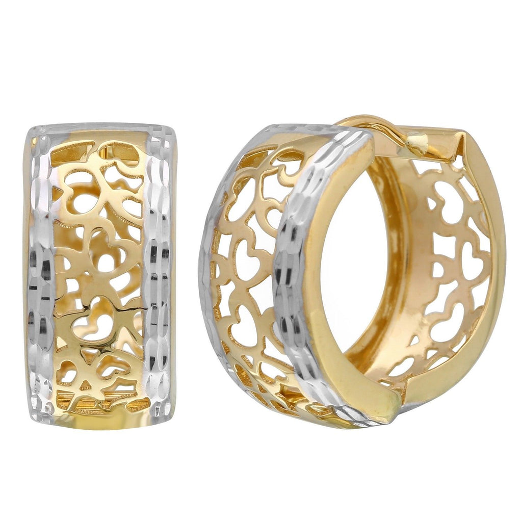 14k Two-Tone Heart Design Huggie Earrings