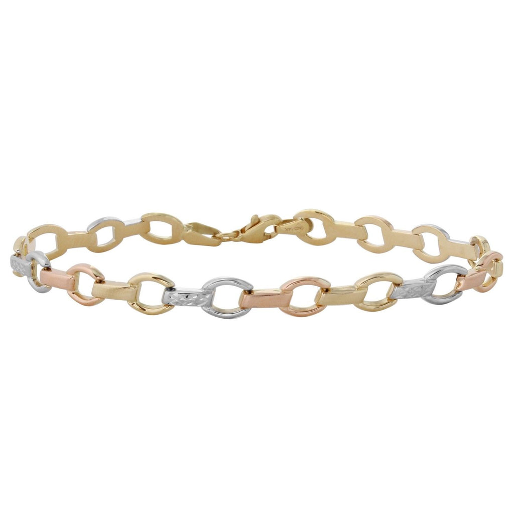 14k Tri-Color Gold Stampato Bracelet, 7.25""