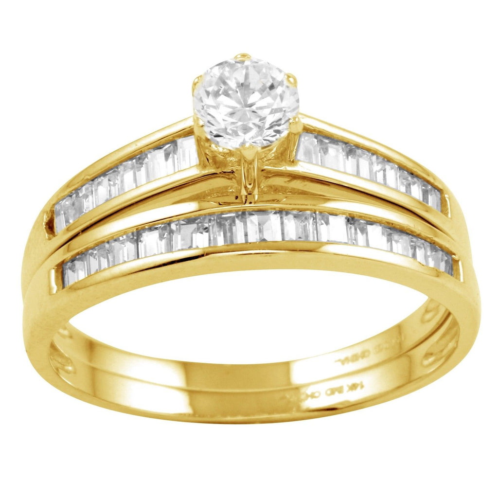 14k Gold CZ Round Brilliant 2-Piece Bridal Ring - Bee Jewels