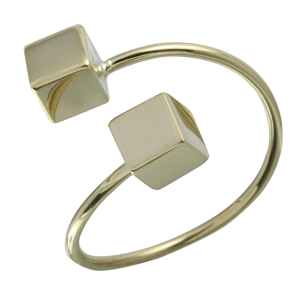 14k Yellow Gold Dice Bypass Ring, Size 7