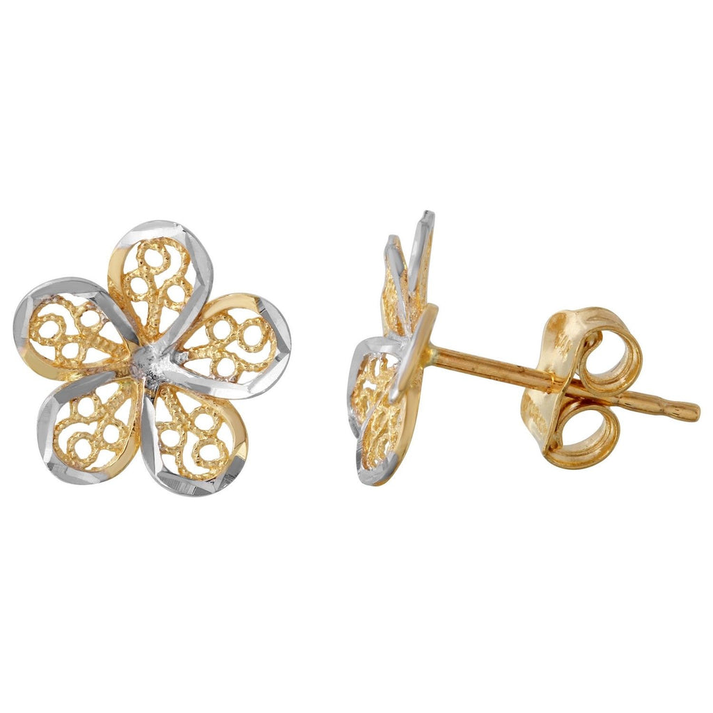 14k Two-Tone Gold Flower Stud Earrings