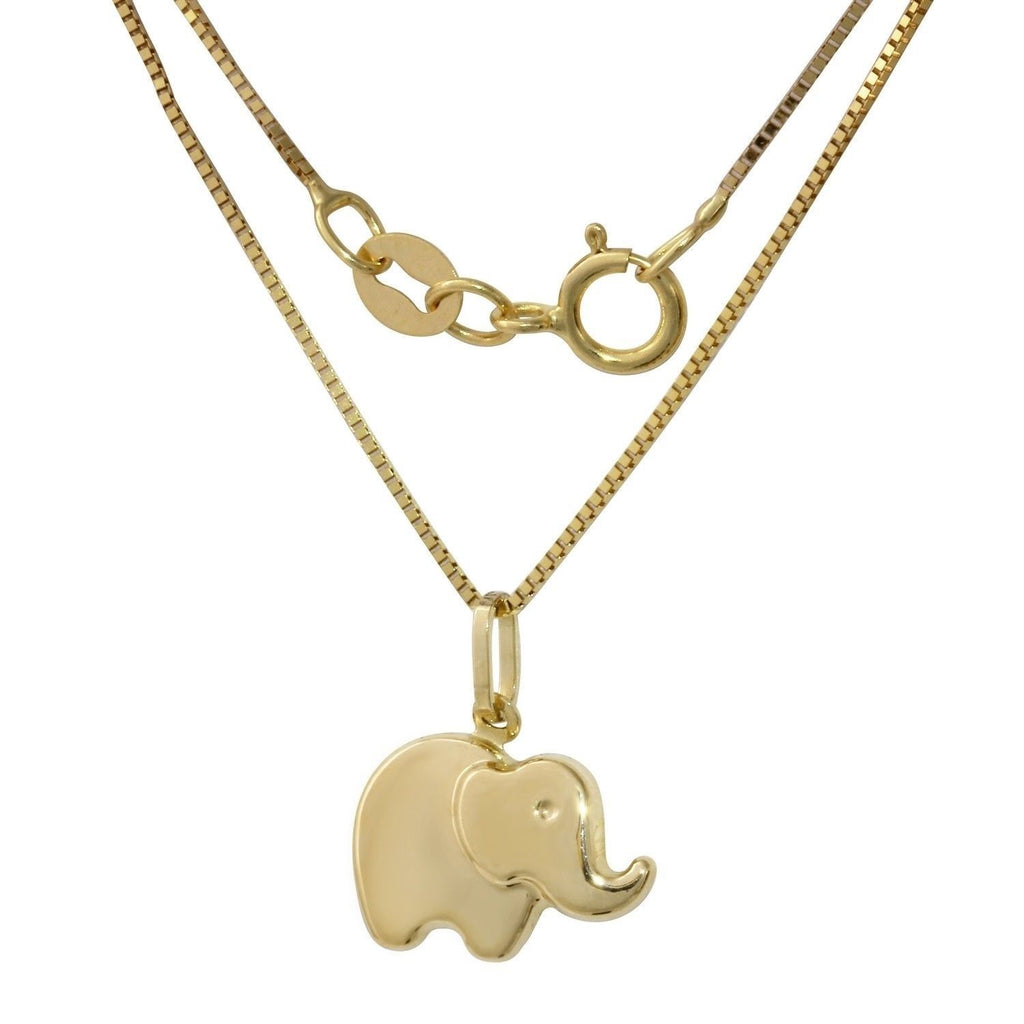 14k Yellow Gold Italian Elephant Pendant Box Chain Necklace, 16""