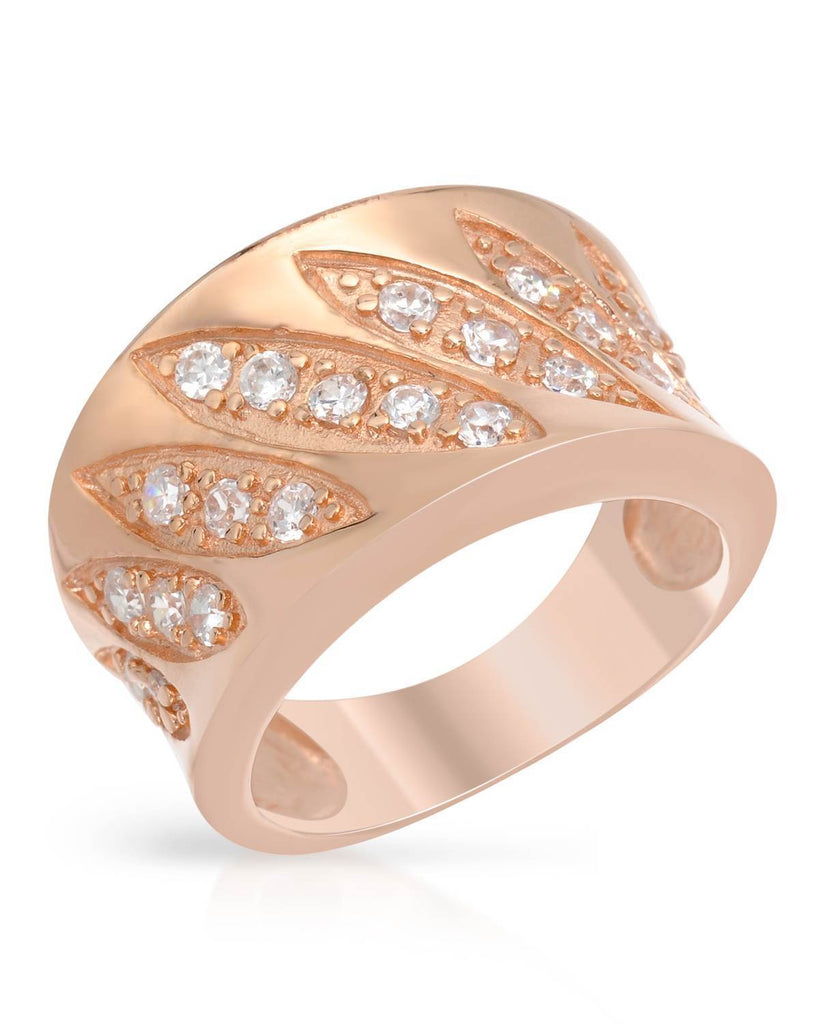 Sterling Silver Cubic Zirconia rose gold Slanted Design Ring