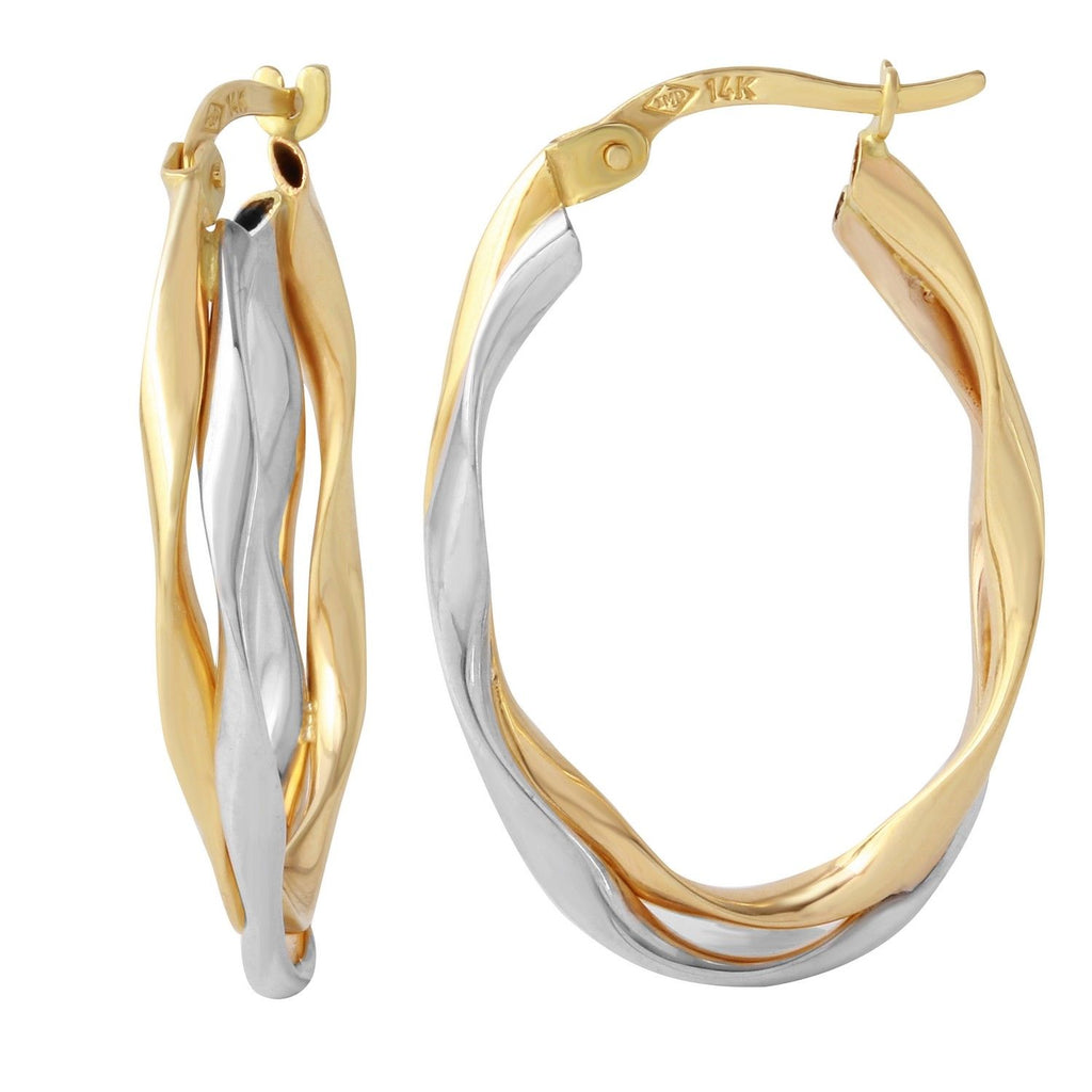 14k Two-Tone Gold Oval Twist Hoop Earrings