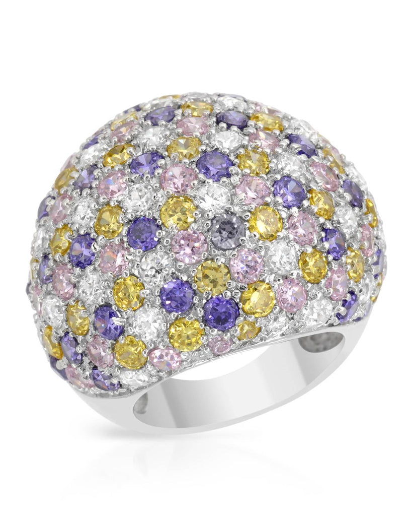 CZ Color Burst Bubble RING Sterling Silver