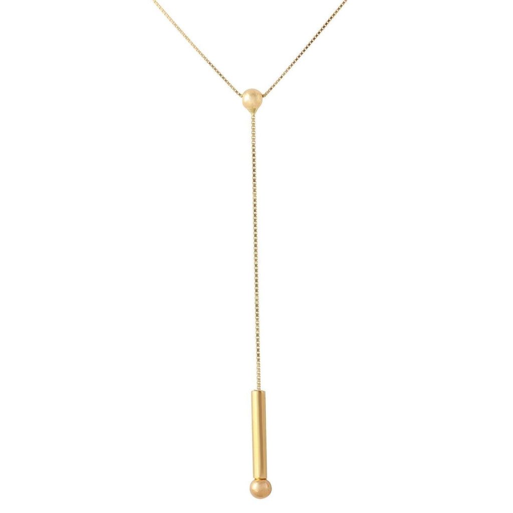 14k Yellow Gold Italian Box Chain with Dangling Pin Pendant Necklace, 16""
