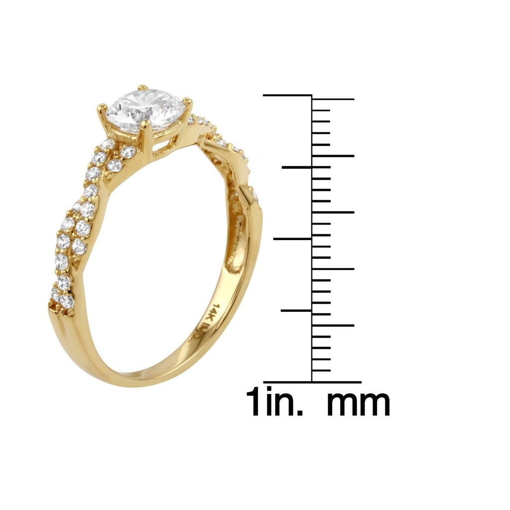 14k Gold CZ Round Brilliant Infinity Engagement Wedding Ring - Bee Jewels