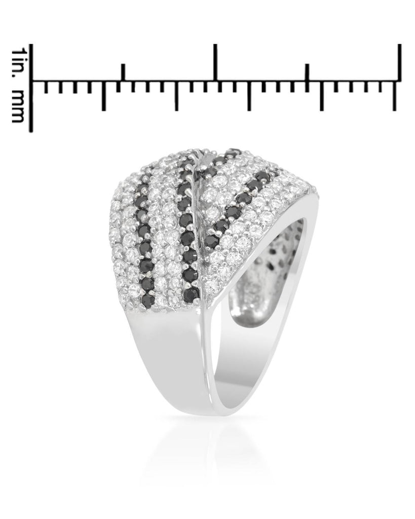 Overlapping Striped Bands RING CZ Sterling Silver