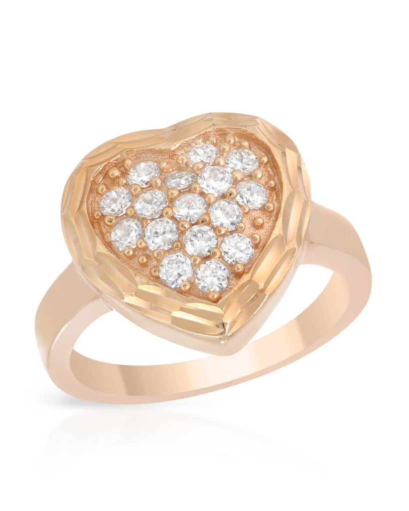Bevel Framed CZ Heart Ring Rose Gold colored Sterling Silver