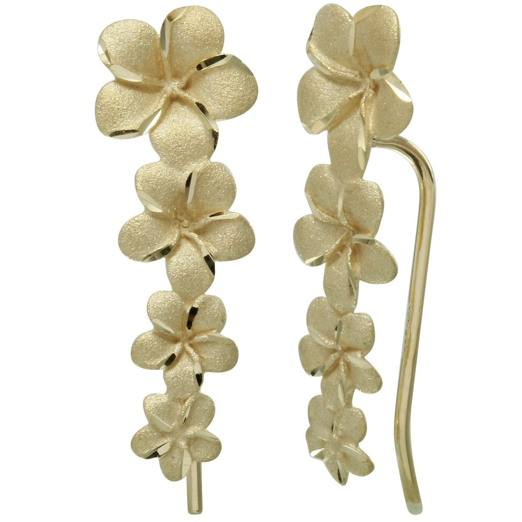 14k Yellow Gold Graduated Flower French Hook Earrings - Bee Jewels