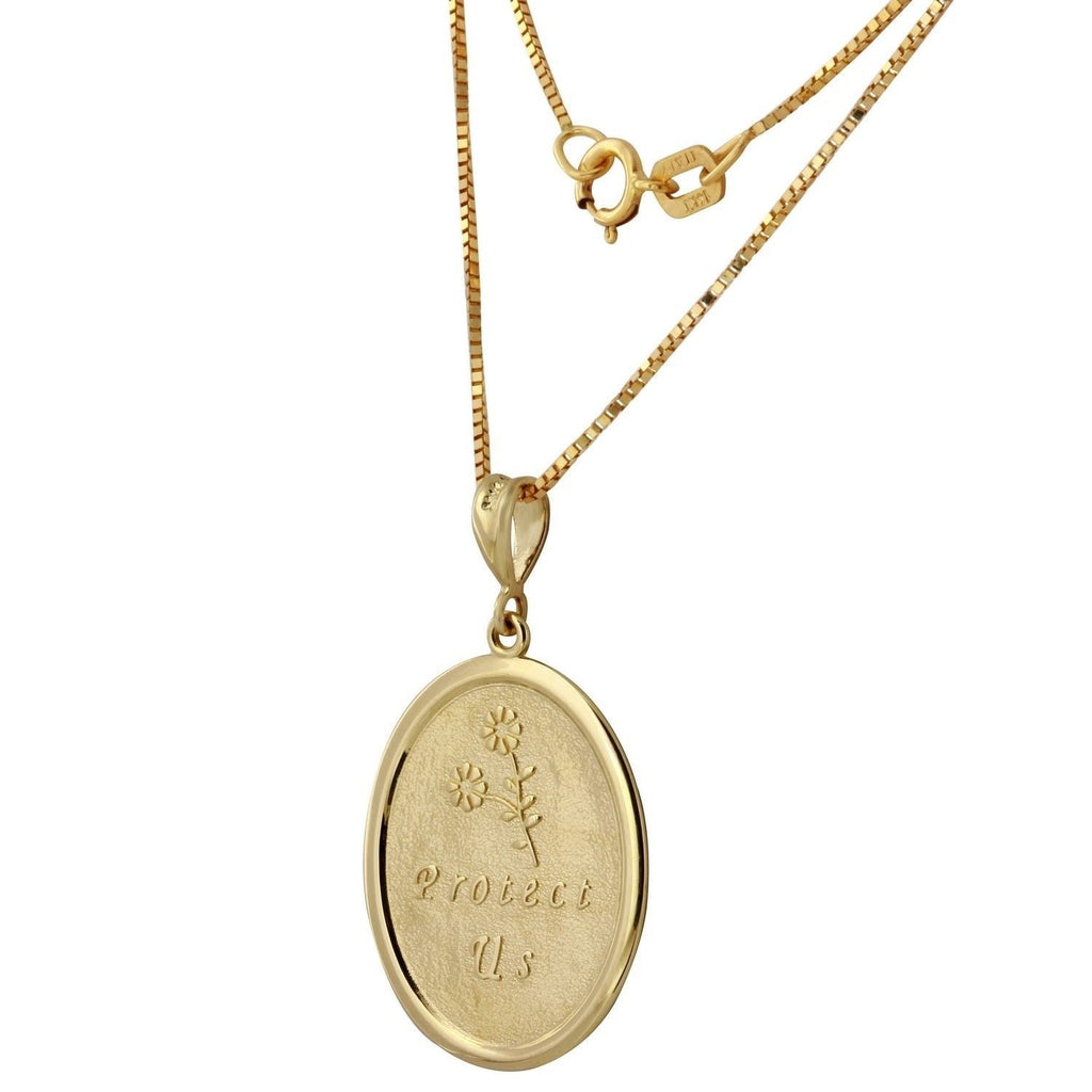 14k Two-Tone Gold Saint Christopher Oval Medal Necklace, 18""