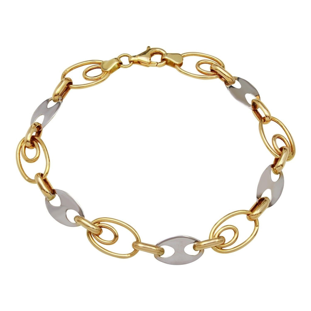 14k Two-Tone Gold Multi-Dimensional Link Bracelet, 7.75""