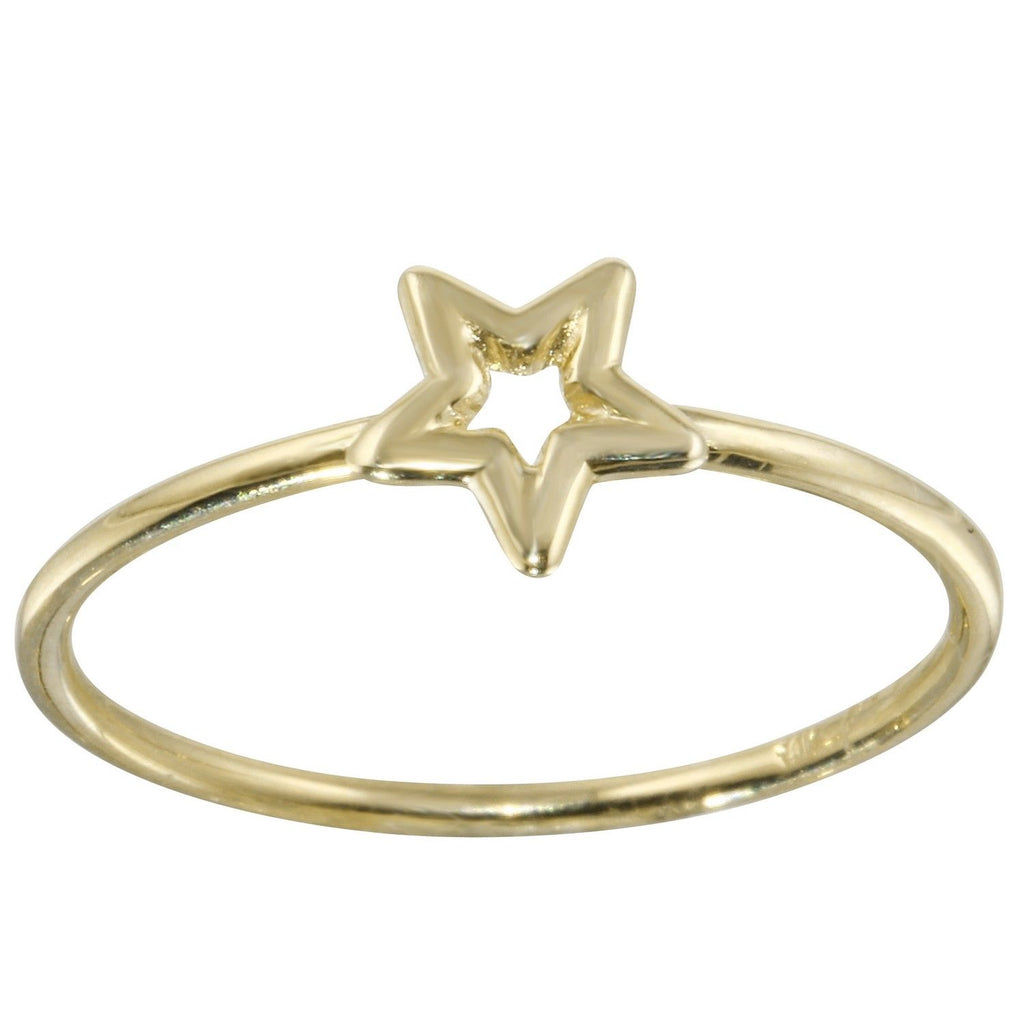 14k Italian Yellow Gold Open Star Ring, Size 7
